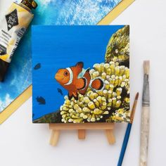 Small Canvas Art, Mini Canvas Art, Diy Canvas, Fall Canvas Painting, Hand Painting Art, Painting Shelves, Cute Paintings, Cool Art Drawings, Acrylics