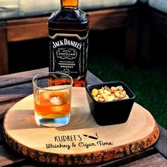 It's Pleasure O'Clock | Personalized Wood Slice for Whiskey & Cigar Serving, Personalization, Original Gift, Whiskey, Platter, Serving Board Snack Platter, Snack Bowls, Tennessee Whiskey, Sunflower Oil, Serving Board, Cooking Oil, Wood Slices, Oclock, Handmade Wooden
