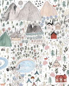 """351 Likes, 6 Comments - Sara Boccaccini Meadows (@boccaccinimeadows) on Instagram: """"My favorite place in the #mountains Illustration for @grounded.co #pattern #outdoors"""""""