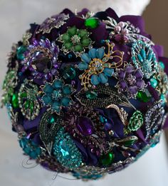 Wedding brooch bouquet 8 Deep Purple Fusion by Rubybloomscom, $75.00 4