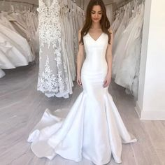 JIERUIZE White Satin Mermaid Simple Wedding Dresses 2019 V-neck Lace up Back Boho Bride Dress Cheap Wedding Gowns robe de mariee Off Shoulder Wedding Dress, Wedding Dress Chiffon, Backless Wedding, Wedding Dresses For Sale, White Wedding Dresses, Cheap Wedding Dress, Bridal Dresses, Wedding Gowns, Wedding White