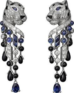 Panthère de Cartier earrings Platinum, sapphires, onyx, diamonds