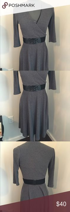 Grey Dress Grey full skirt dress with belt. Size 4 and fits true to size. Like new and only worn a few times. Skirt part comes to about mid calf. Belt is  two sided! Dressbarn  Dresses Midi