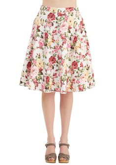 Beg Your Garden Skirt. Excuse your blooming beauty in this charming white skirt - available in March! #multi #modcloth