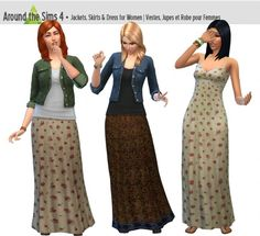 Skirts, dresses and jackets by Sandy at Around the Sims 4 via Sims 4 Updates