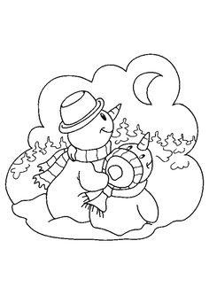 Papa bonhomme de neige montre la lune à son petit, un beau dessin à embellir avec des couleurs.