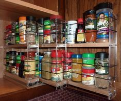 Products : Vertical Spice spice rack drawers for cabinet organization Spice Rack Organization, Spice Storage, Kitchen Organization, Organization Hacks, Kitchen Storage, Kitchen Redo, Kitchen Pantry, Kitchen And Bath, Kitchen Remodel