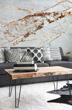 Accent wall Livingroom : Marble Wallpaper ,From chic, classic white marble to modernised, unique designs that take Marble beyond its natural forms, anyone can achieve their ideal Marble interiors look