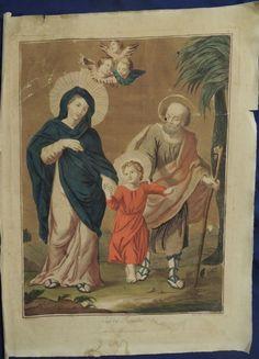Antica stampa Sacra famiglia
