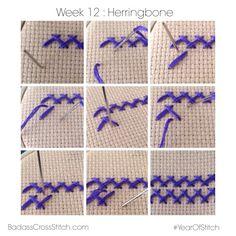 Week 12: Herringbone Stitch Tutorial  #YearofStitch (via badasscrossstitch.com)