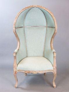 Robin Egg Blue Fabric Domed Bonnet Canopy Porter Chair Hollywood Regency #Unknown #HollywoodRegency