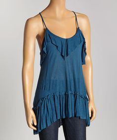 Another great find on #zulily! Blue Ruffle Tank #zulilyfinds