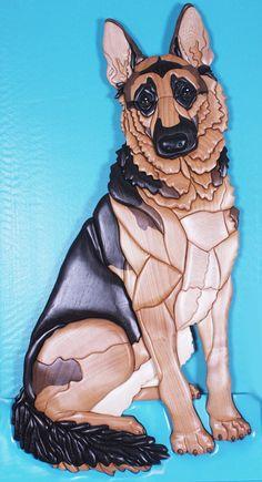 German Shepherd Intarsia Wood Sculpture by KathyWiseDesigns