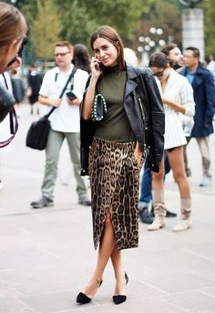 leopard print skirt and green top