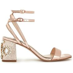 Miss Selfridge CHARM Rose Gold Sandals (1.418.810 IDR) ❤ liked on Polyvore featuring shoes, sandals, rose gold, rose gold shoes, miss selfridge, decorating shoes, embellished shoes and jeweled sandals