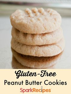 No Flour Peanut Butter Cookies (Gluten-free). I've used this recipe for years! I often add oatmeal, or cornflakes, or granola. | via @SparkPeople #glutenfree #cookies #dessert