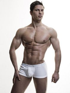 Alexander Bushuev in white boxer briefs with full package by Rick Day