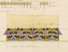 DUPE: Design for a frieze above a mantelpiece in the hall-lounge of 78 Derngate, Northampton, for Wenman Joseph Bassett-Lowke
