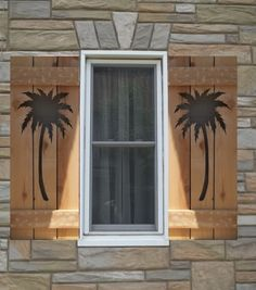 Palm Trees cut out on Wood shutters. Different types and designs to choose from. If you have your own design, that can also be done by contacting us. The price if for one set of shutters (two panels) for one window approx. 14 wide by up to 36 high. Larger sizes can also be done by