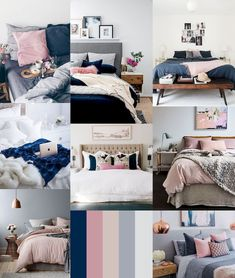 Navy and pink bedroom check my other home decor ideas videos blush pink navy and gold . navy and pink bedroom Dorm Room Colors, Navy Bedrooms, Navy Bedroom Decor, Navy Copper Bedroom, Colors For Bedrooms, Navy Home Decor, Bedroom Wall, Bedroom Furniture, Bedroom Curtains