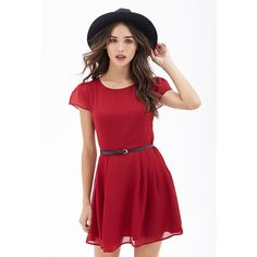 Forever 21 Belted Cap Sleeve Dress ($18) via Polyvore featuring dresses, see through dress, belted dress, red dress, shining dress and sheer dress