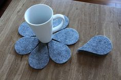 Grey Felt  Coaster Tear Drop Shape Set of 7  #handmade