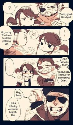 Chibi Quiet and Big Boss look adorable // Kaz looks depressed, HE WANTS… Metal Gear Solid Quiet, Metal Gear V, Metal Gear Games, Snake Metal Gear, Metal Gear Solid Series, Cry Anime, Anime Art, Comic Anime, Gear Art
