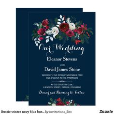 Rustic winter navy blue burgundy floral wedding card