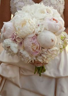 Pink Peonies and Ranunculus with Gardenia accent wedding bouquet ...