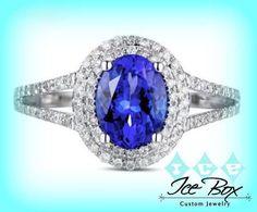 Tanzanite Engagement Ring 14K White Gold Tanzanite in a Diamond Halo Setting