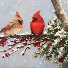 """Daily Paintworks - """"Baby its cold outside.."""" - Original Fine Art for Sale - © Krista Eaton"""