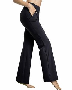 Bamans Womens Yoga Dress Pants Bootcut Leggings with Pockets Petite to Plus Size Flared Stretch Workout Work Pants,Black XL Yoga Dress, Yoga Pants Outfit, Dress Pants, Yoga Pants For Work, Modest Workout Clothes, Workout Pants, Workout Outfits, Gym Clothes Women, Running Leggings