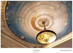Painted ceiling by Houston's Imago Dei. Looks like the Copernican view of the helio-centric solar system. Ceiling Murals, Ceiling Lights, Chinoiserie, Decoration, Art Decor, Home Decor, Starry Ceiling, Tableaux D'inspiration, Faux Painting