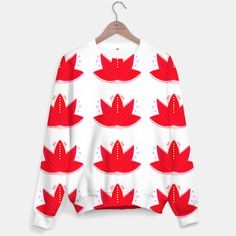 DESIGNERS SWEATER WITH RED LOTUSES