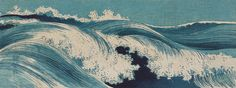 Hatō zu 1 by Uehara Konen is a gorgeous woodblock print - the blue tones keep the piece subtle while the movement of the wave is powerful and eye-catching.