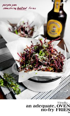 Pretty Little Purple Yam Shoestring Fries with Parmigiano and Lime Zest  Baked, not fried