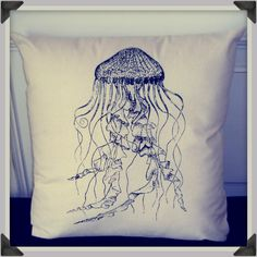Screenprinted Jellyfish Cushion Nautical handmade tattoo alternative Wedding. $24.99, via Etsy.