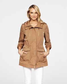 Eliza Hooded Anorak Jacket with Quilt Detail