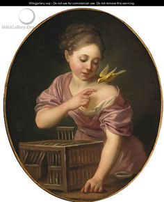 A Girl with a Canary and Open Cage by Jean-Baptiste Greuze. Medium: oil on canvas, oval; Amazing Paintings, Portrait Art, Vintage Children, 18th Century, Painting & Drawing, Vintage Art, Art For Kids, Illustration, Artist
