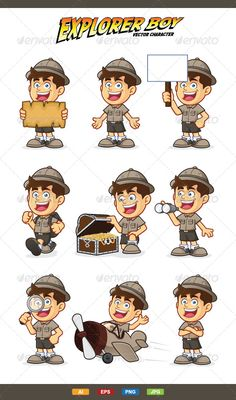 Buy Boy Scout or Explorer Boy Character by sundatoon on GraphicRiver. 9 Expressions boy scout or explorer boy vector character, High quality vector character mascot illustration. Cute Characters, Cartoon Characters, Boy Character, Character Design, Cartoon Expression, Boy Walking, Cartoon Boy, Cartoon Sketches, Animation Reference