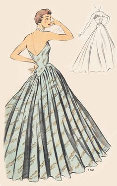Vintage Sewing Pattern 1950's Evening Ball Gown in Any by Mrsdepew
