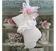 Sweet mini Victorian stocking ornament from Tea Cup Stitches - Ebay