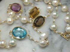 Perlenketten - Perlen Armband Collier Kette Amethyst Topas - ein Designerstück von TOMKJustbe bei DaWanda