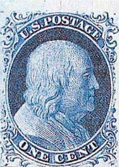US #8 1857 1857 1c Franklin, blue, imperf