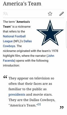 Dallas Cowboys a.k.a 'America's Team' ❤