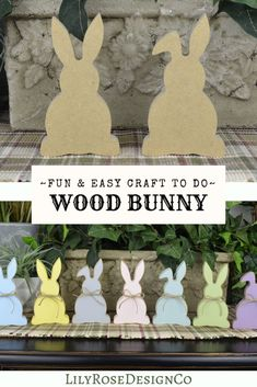 Darling Wood Bunnies that are a fun & Easy Craft to do! Paint or use Paper... the possibilities are endless.  Design them to fit your Home Decor this Spring. LilyRoseDesignsCo has your DIY crafts for every Holiday & Season. Visit LilyRoseDesignsCo today! #lilyrosedesignsco #easterbunny #diyeastercrafts #diyeasterdecor #eastercraftsforkids