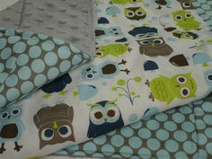 Modern Owls Baby Blanket with Minky 27 x 28 MADE by KBExquisites, $32.00