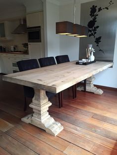 Kloostertafel Dinning Room Tables, Dining Table In Kitchen, Table And Chairs, Interior Decorating, Interior Design, Farmhouse Table, Dining Furniture, Decoration, Sweet Home