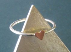 Tiny Love Heart  Stacking Sterling Silver & Copper by UrbanLustre, $20.00