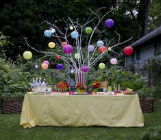 Festive outdoor decor for a party.